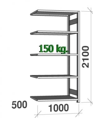 Extension bay 2100x1000x500 150kg/shelf,5 shelves