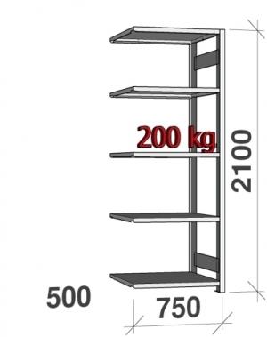 Laoriiul lisaosa 2100x750x500 200kg/riiuliplaat,5 plaati
