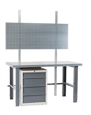 Töölaud 1500x800 + sahtlikapi, perfoseina ja värvitud jalgadega