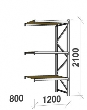 Laoriiul jätkuosa 2100x1200x800 600kg/tasapind, 3 PLP tasapinda