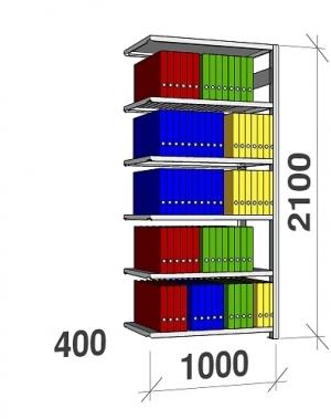 Arhiiviriiul lisaosa 2100x1000x400 150kg/riiuliplaat,6 plaati