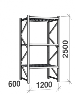 Metallriiul põhiosa 2500x1200x600 600kg/tasapind,3 tsinkplekk tasapinda