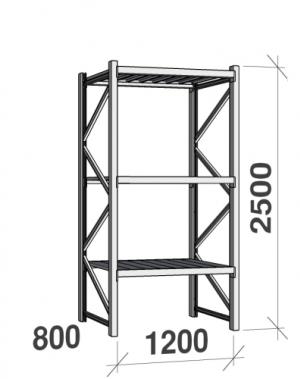 Metallriiul põhiosa 2500x1200x800 600kg/tasapind,3 tsinkplekk tasapinda