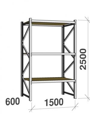 Metallriiul põhiosa 2500x1500x600 600kg/tasapind,3 puitlaast tasapinda