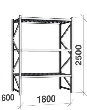 Metallriiul põhiosa 2500x1800x600 480kg/tasapind,3 tsinkplekk tasapinda