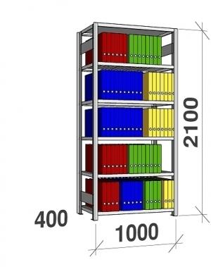 Arhiiviriiul põhiosa 2100x1000x400 150kg/riiuliplaat,6 plaati