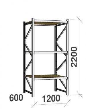 Metallriiul põhiosa 2200x1200x600 600kg/tasapind,3 puitlaast tasapinda