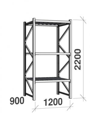 Metallriiul põhiosa 2200x1200x900 600kg/tasapind,3 tsinkplekk tasapinda