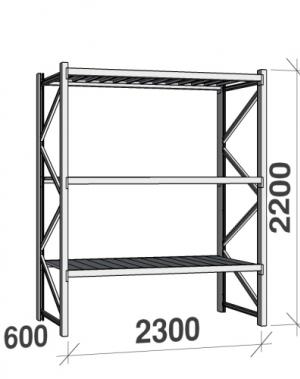 Metallriiul põhiosa 2200x2300x600 350kg/tasapind,3 tsinkplekk tasapinda