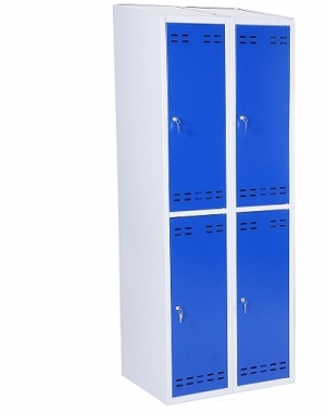 Riidekapp 4 uksega, sinine/hall, 1920x700x550