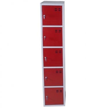 Sektsioonkapp, 5-ust, punane/hall, 1920x350x550