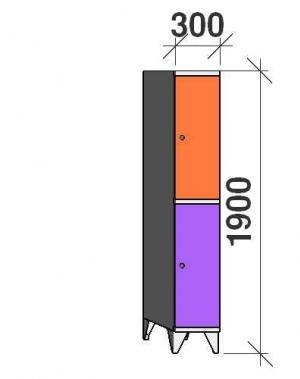 Sektsioonkapp, 2 ust, 1900x300x545 mm