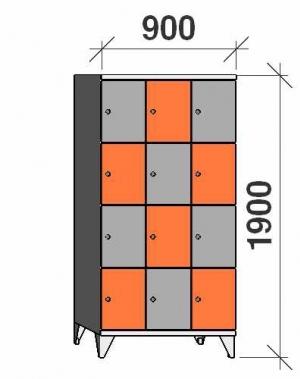4-tier locker, 12 doors, 1900x900x545 mm