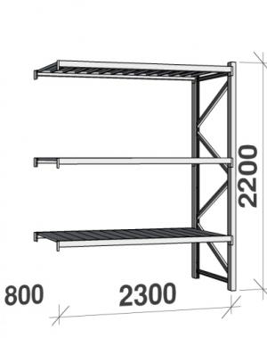 Metallriiul lisaosa 2200x2300x800 350kg/tasapind,3 tsinkplekk tasapinda