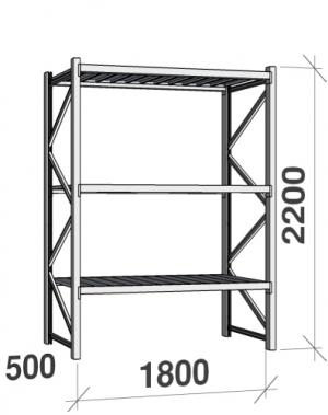 Metallriiul põhiosa 2200x1800x500 480kg/tasapind,3 tsinkplekk tasapinda