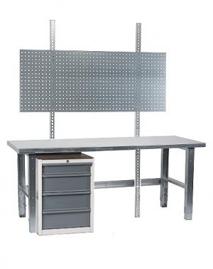 Töölaud 2000x800 + sahtlikapi, perfoseina ja tsingitud jalgadega