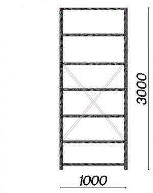 Starter bay 3000x1000x400 150kg/shelf,7 shelves used