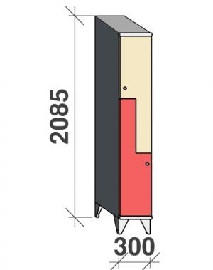 Z-kapp 2085x300x545, 2 ust, kaldkatusega