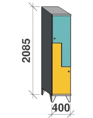 Z-kapp 2085x400x545, 2 ust, kaldkatusega