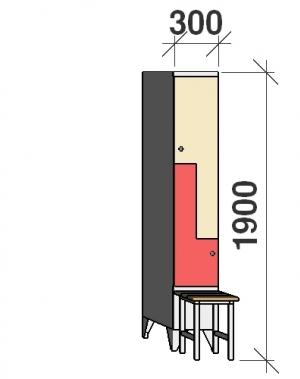 Z-locker 1900x300x845, 2 doors, with bench
