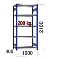 Starter bay 2100x1000x300 200kg/shelf,5 shelves, blue/Zn