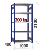 Starter bay 2100x1000x400 200kg/shelf,5 shelves, blue/Zn