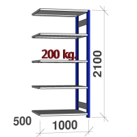 Extension bay 2100x1000x500 200kg/shelf,5 shelves, blue/Zn