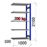 Laoriiul lisaosa 2100x1000x500 200kg/riiuliplaat,5 plaati, sinine/Zn