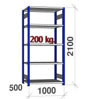 Laoriiul põhiosa 2100x1000x500 200kg/riiuliplaat,5 plaati, sinine/helehall