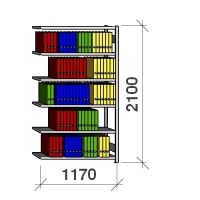 Arhiiviriiul lisaosa 2100x1170x400 150kg/riiuliplaat,6 plaati