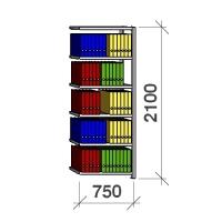 Arhiiviriiul lisaosa 2100x750x300 200kg/riiuliplaat,6 plaati
