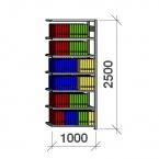 Arhiiviriiul lisaosa 2500x1000x300 200kg/riiuliplaat,7 plaati