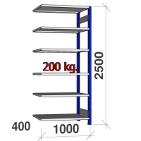 Extension bay 2500x1000x400 200kg/shelf,6 shelves, blue/Zn