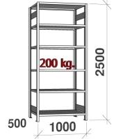 Laoriiul põhiosa 2500x1000x500 200kg/riiuliplaat,6 plaati