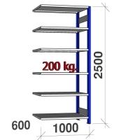 Laoriiul lisaosa 2500x1000x600 200kg/riiuliplaat,6 plaati, sinine/Zn