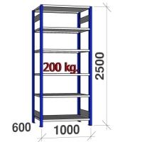 Laoriiul põhiosa 2500x1000x600 200kg/riiuliplaat,6 plaati, sinine/helehall