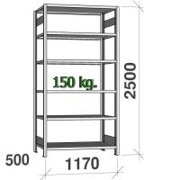 Laoriiul põhiosa 2500x1170x500 150kg/riiuliplaat,6 plaati
