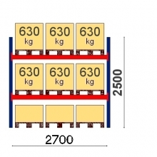 Kaubaaluste riiuli põhiosa 2500x2700, 630kg/alus, 9 EUR alust OPTIMA