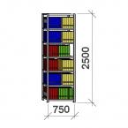 Arhiiviriiul põhiosa 2500x750x400 200kg/riiuliplaat,7 plaati