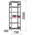 Starter bay 2500x750x300 200kg/shelf,6 shelves