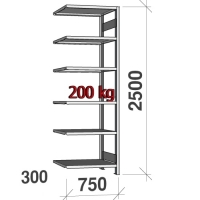 Extension bay 2500x750x300 200kg/shelf,6 shelves