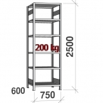 Starter bay 2500x750x600 200kg/shelf,6 shelves