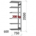 Extension bay 2500x750x600 200kg/shelf,6 shelves