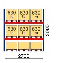 Kaubaaluste riiuli põhiosa 3000x2700, 630kg/alus, 9 EUR alust OPTIMA