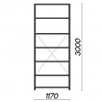 Starter bay 3000x1170x600 150kg/shelf,7 shelves