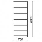 Laoriiul lisaosa 3000x750x800 200kg/riiuliplaat,7 plaati