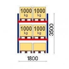 Kaubaaluse riiul põhiosa 3500x1800 1000kg/alus,6 alust OPTIMA