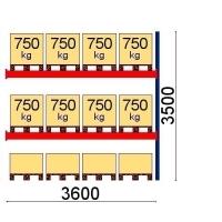 Kaubaaluse riiul lisaosa 3500x3600 1000kg/alus,12 alust OPTIMA