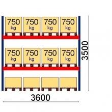 Kaubaaluse riiul põhiosa 3500x3600 750kg/alus,12 alust OPTIMA