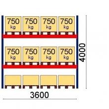 Kaubaaluste riiuli põhiosa 4000x3600, 750kg/alus 12 alust, Optima